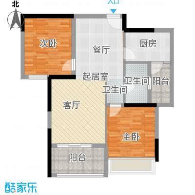 锦绣龙城八期鎏园93.33㎡B2锦贵前程户型2室1卫1厨