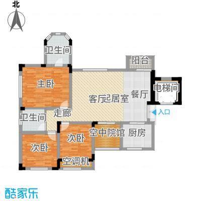 蓝溪谷地107.16㎡一期39栋第6层C户型3室2卫1厨