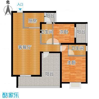恒通御景天都87.61㎡一期1号楼标准层1号房户型2室1厅2卫1厨