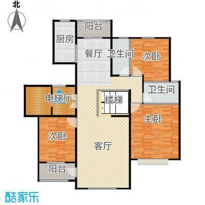 乡居假日二期香醍园155.01㎡E\'上跃下层户型3室2厅2卫