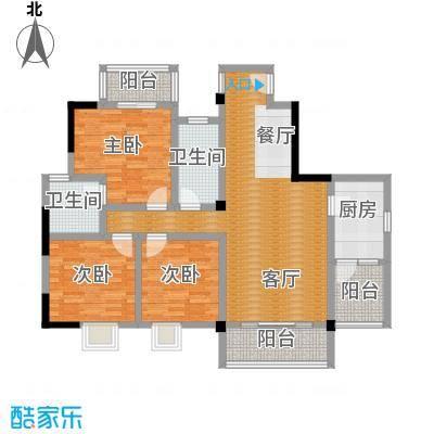 山水华景110.21㎡12789户型3室1厅2卫1厨