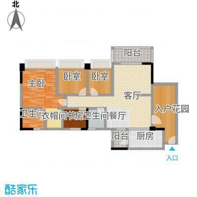 广州雅居乐花园131.20㎡时光九篇B型1栋205户型2室1厅2卫1厨