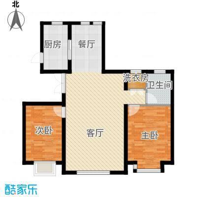 首城南湖1㎡106.00㎡2-B户型2室2厅1卫