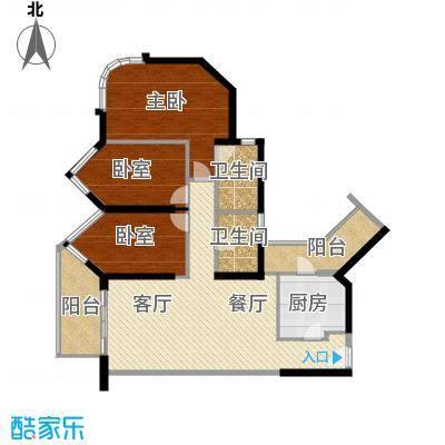 珊瑚水岸123.60㎡二期8-10栋标准层3、4户型3室2厅2卫