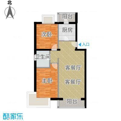 京东领秀城88.90㎡一号楼标准层A2户型2室2厅1卫
