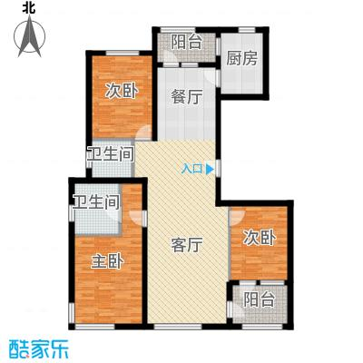 亿城堂庭146.00㎡户型3室1厅2卫1厨