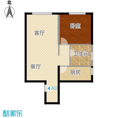 保利金香槟82.65㎡b层公寓户型1室2厅1卫
