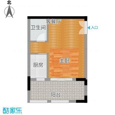 中冶重庆早晨56.46㎡7、8号房至境单配户型1厅1卫1厨