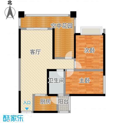 华宇春江花月85.02㎡8号楼7号房户型2室1厅1卫1厨