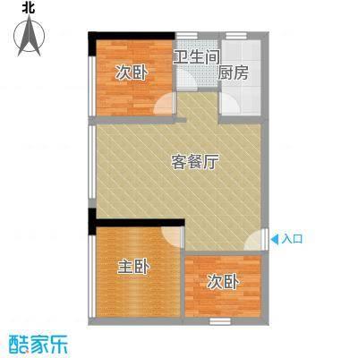 长帆江岸公馆64.26㎡2号楼3号户型3室1厅1卫1厨