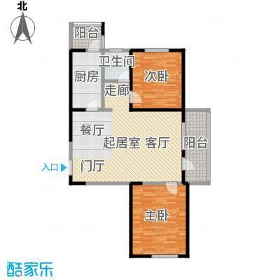 紫竹华庭95.00㎡A户型 两室一厅一卫户型2室1厅1卫