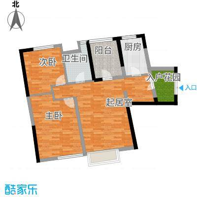 永泰枕流GOLF公寓100.32㎡一期6-7号门标准层L户型2室2厅1卫