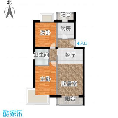 京东领秀城88.90㎡一号楼标准层A1户型2室2厅1卫