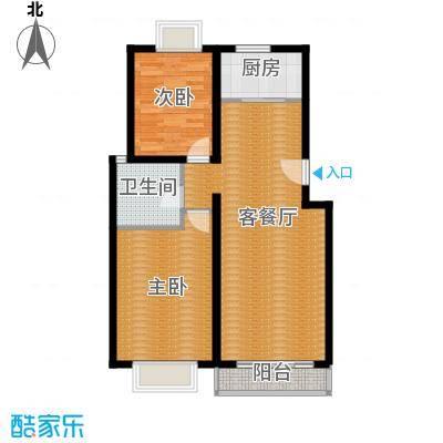 京东领秀城88.00㎡D1户型2室2厅1卫