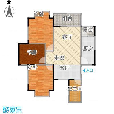 中建康城90.70㎡F1户型3室1卫1厨