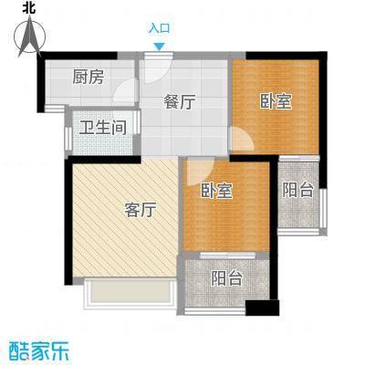 汉城壹号79.64㎡2号楼标准层A2户型2室2厅1卫