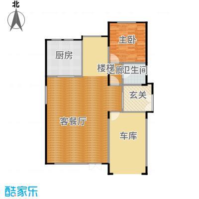 艾维诺森林92.49㎡独栋M一层户型1室2厅1卫