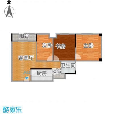 天怡碧桂苑61.29㎡一期1、2号楼标准层户型3室1厅1卫1厨