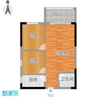 长帆江岸公馆59.50㎡A13号房单间配套户型1卫1厨