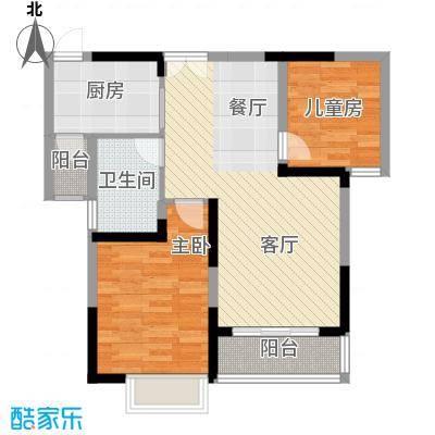 左岸美邻84.00㎡1#4-12楼B1户型2室1卫1厨