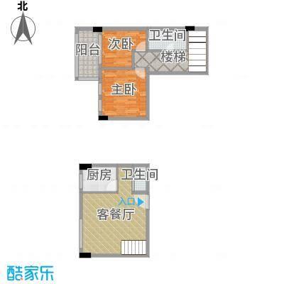 湘隆时代大公馆85.43㎡c4-4007户型2室1厅2卫1厨