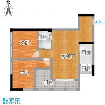 羲城蓝湾72.05㎡一期1号楼4-31奇数层E3户型2室1厅1卫1厨