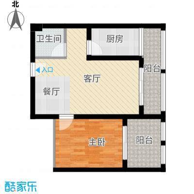 羲城蓝湾48.51㎡一期1号楼3-18层B2户型1室1厅1卫1厨