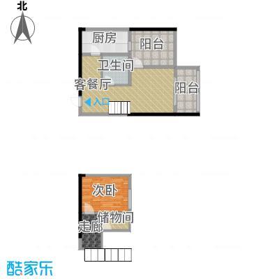 羲城蓝湾72.58㎡一期1号楼4-31奇偶层F1户型1室1厅1卫1厨