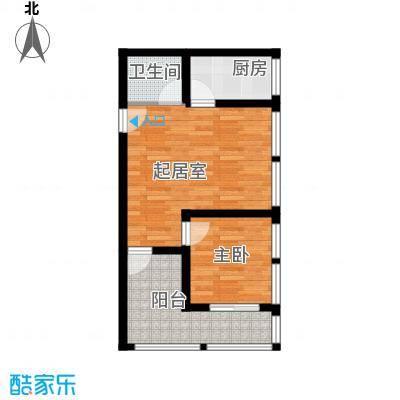 羲城蓝湾47.37㎡一期1号楼3-18层B1户型1室1卫1厨