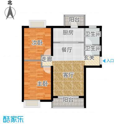 富民河畔家园91.66㎡标准层A户型2室2厅1卫