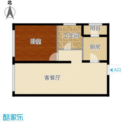 保利金香槟78.16㎡b层公寓户型1室2厅1卫