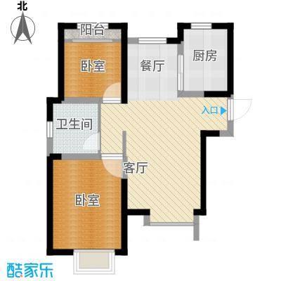 旭辉澜郡84.63㎡环景瞰湖公馆M标准层户型2室2厅1卫