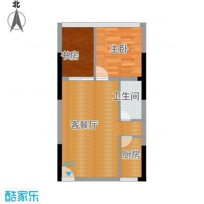长帆江岸公馆43.35㎡A1B户型2室1厅1卫1厨