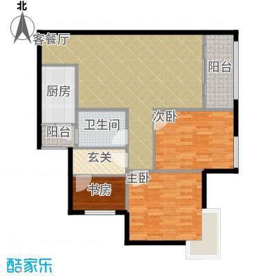中房千寻82.13㎡4号楼D3、D5双阳台带院馆套内面积7232/户型3室1厅1卫1厨