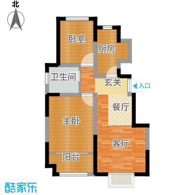 旭辉澜郡84.29㎡公园电梯洋房I标准层户型2室2厅1卫