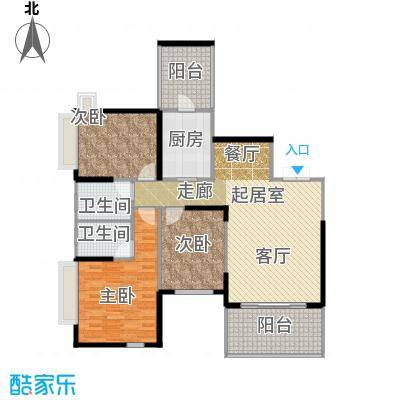 仁和春天国际花园125.10㎡B1双卫户型3室2厅2卫