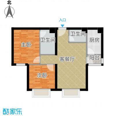 星河18591.19㎡B楼B3户型2室1厅2卫1厨