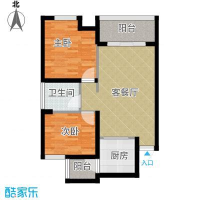 天怡碧桂苑55.71㎡一期1、2号楼标准层户型2室1厅1卫1厨