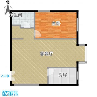 奥东18号69.33㎡南楼B户型1室1厅1卫1厨