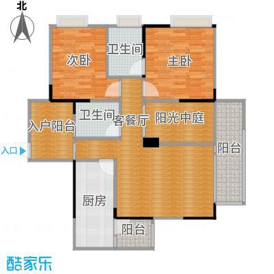 金辉苹果城85.83㎡-户型2室1厅2卫1厨