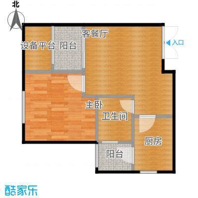 华宇春江花月42.85㎡3号楼1号房户型1室1厅1卫1厨
