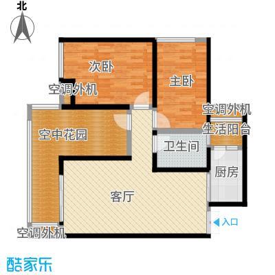华宇春江花月87.16㎡7号楼3号房户型2室1厅1卫1厨