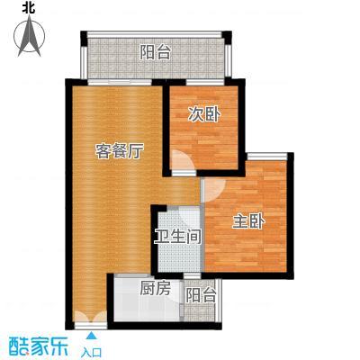 华宇春江花月63.11㎡8号楼3号房户型2室1厅1卫1厨