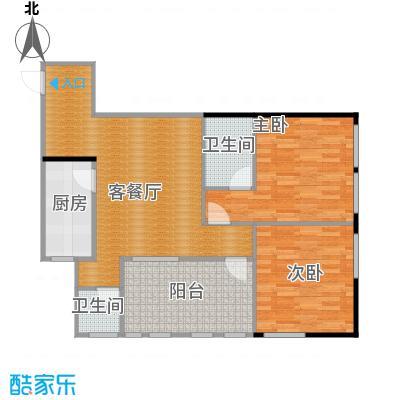 羲城蓝湾77.26㎡一期1号楼4-31奇数层D4户型2室1厅2卫1厨