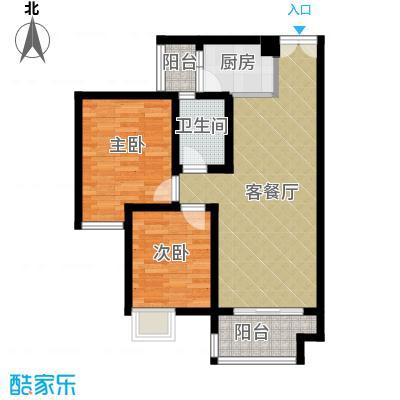 华宇春江花月68.02㎡户型2室1厅1卫1厨