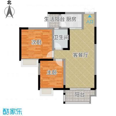 华宇春江花月68.85㎡3号楼5号房户型2室1厅1卫1厨