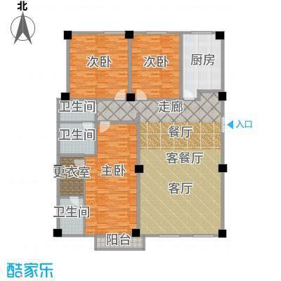 海河新天法桐墅231.93㎡一期A座标准层A1户型3室2厅2卫