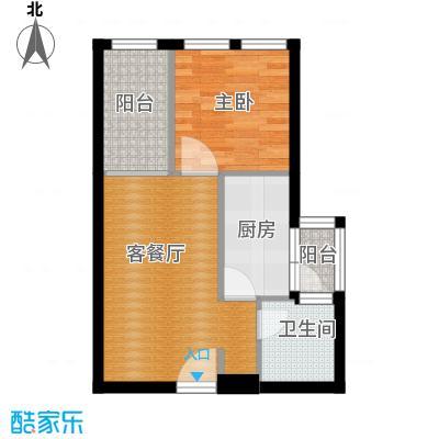 羲城蓝湾39.04㎡一期1号楼3-31层C2户型1室1厅1卫1厨