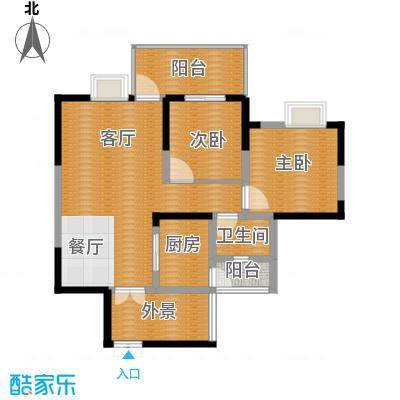 红树湾84.76㎡E1'-1户型2室2厅1卫