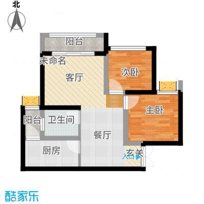 正升青青丽苑48.61㎡一期4号楼标准层A户型2室1卫1厨